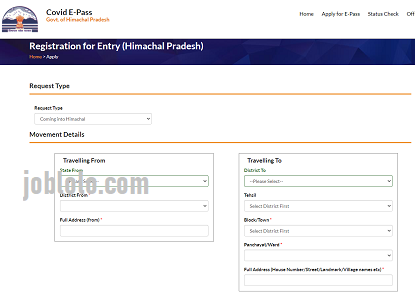 COVID E Pass HP Gov In (Apply Online) e pass himachal pradesh status